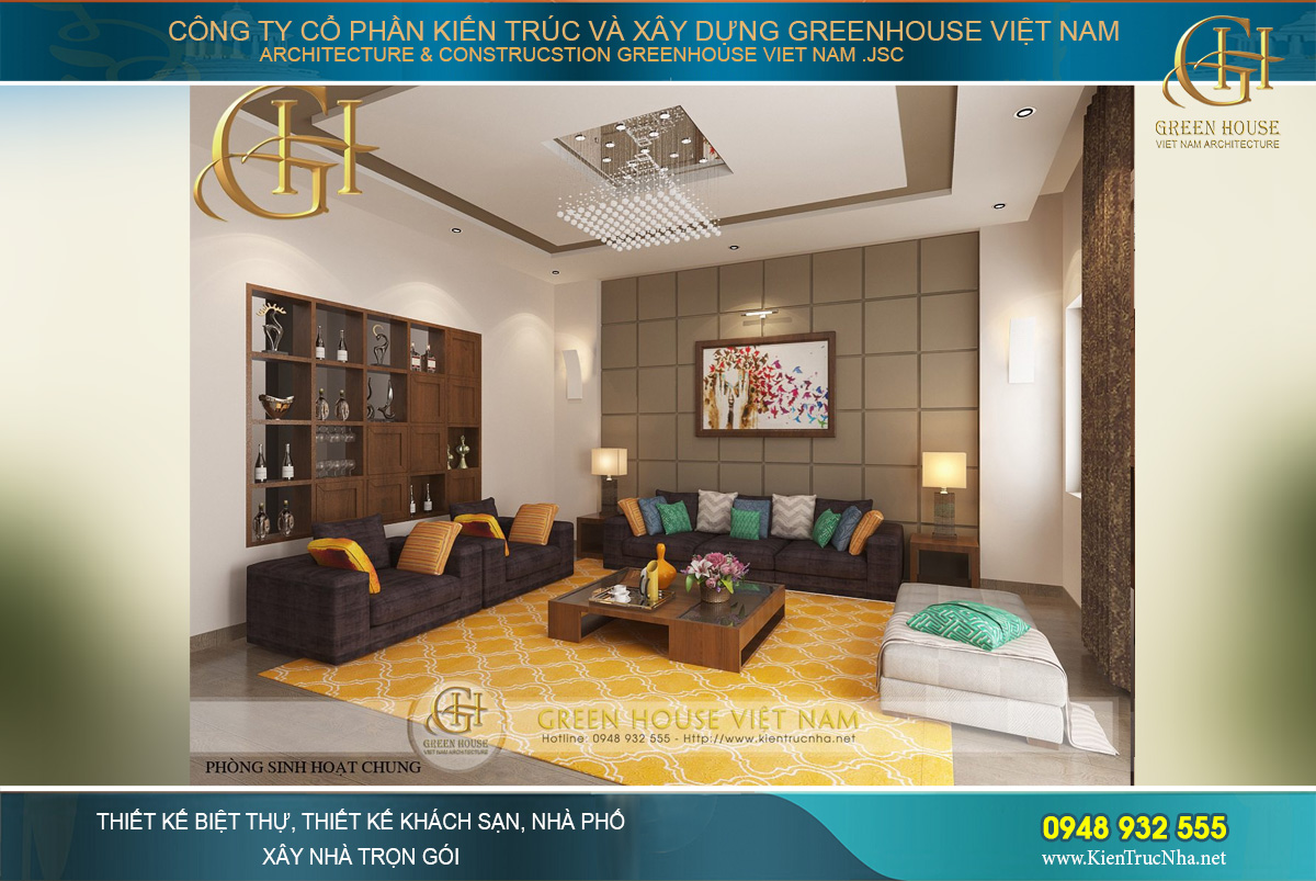 thiết kế nội thất biệt thự hiện đại Á Đông tại Hà Nội