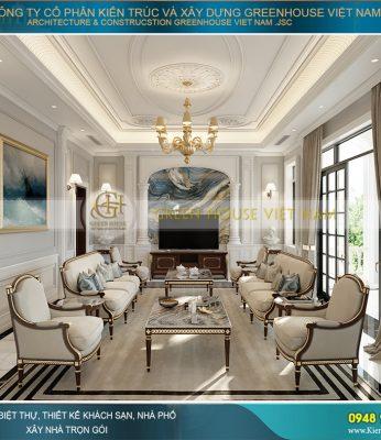 thiết kế nội thất biệt thự tân cổ điển 3 tầng 1 tum tại Hà Nội