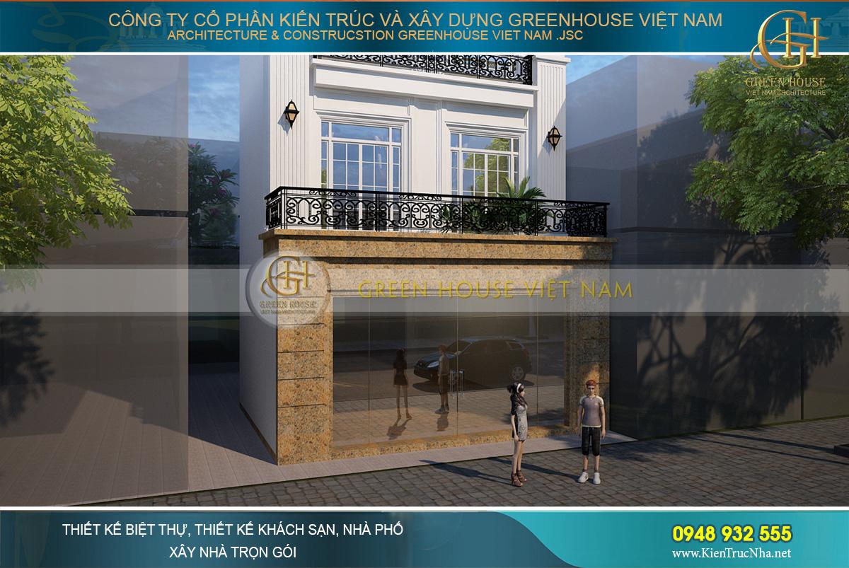 thiết kế biệt thự phố tân cổ điển kết hợp kinh doanh tại Bắc Giang