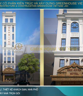 thiết kế khách sạn mini 8 tầng tân cổ điển