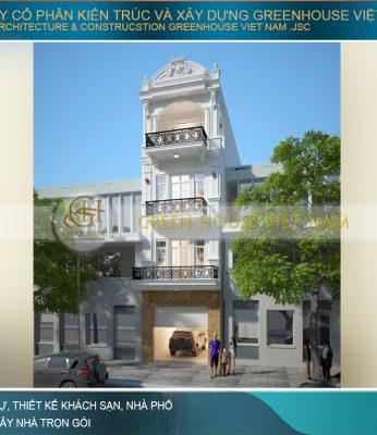 thiết kế nhà phố tân cổ điển 4 tầng tại Bắc Giang