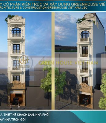 thiết kế nhà phố tân cổ điển 5 tầng tại Hà Nội