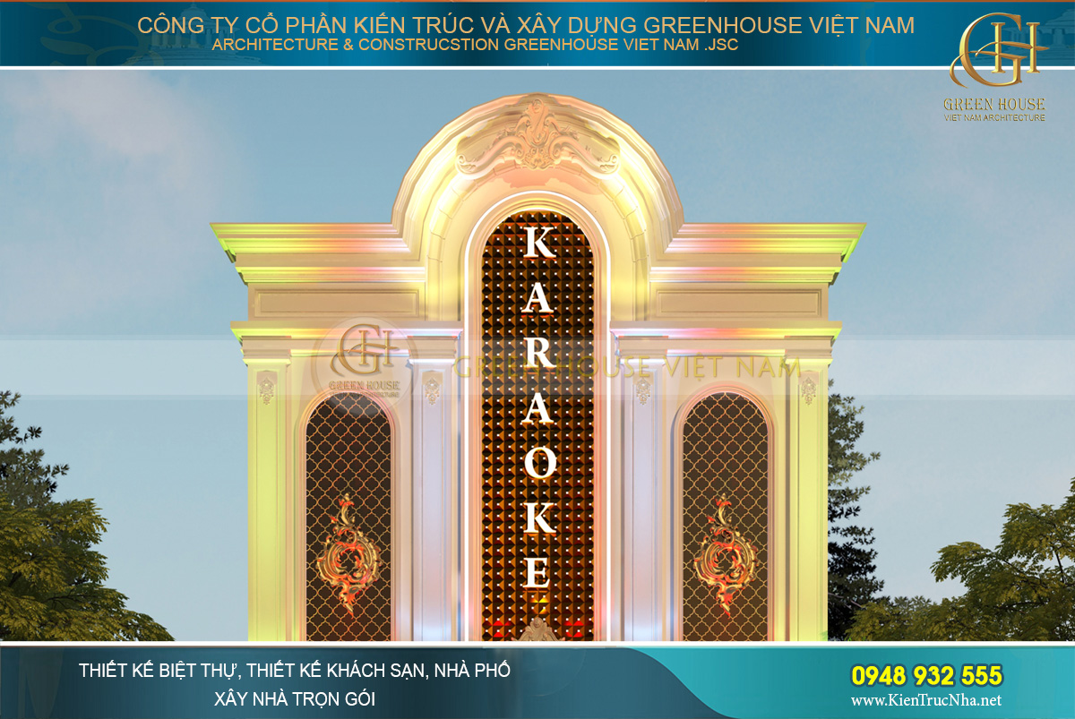 thiết kế quán karaoke tân cổ điển 3 tầng lai châu