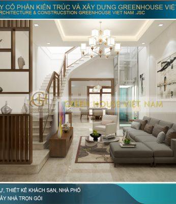 thiết kế phòng khách nhà phố hiện đại