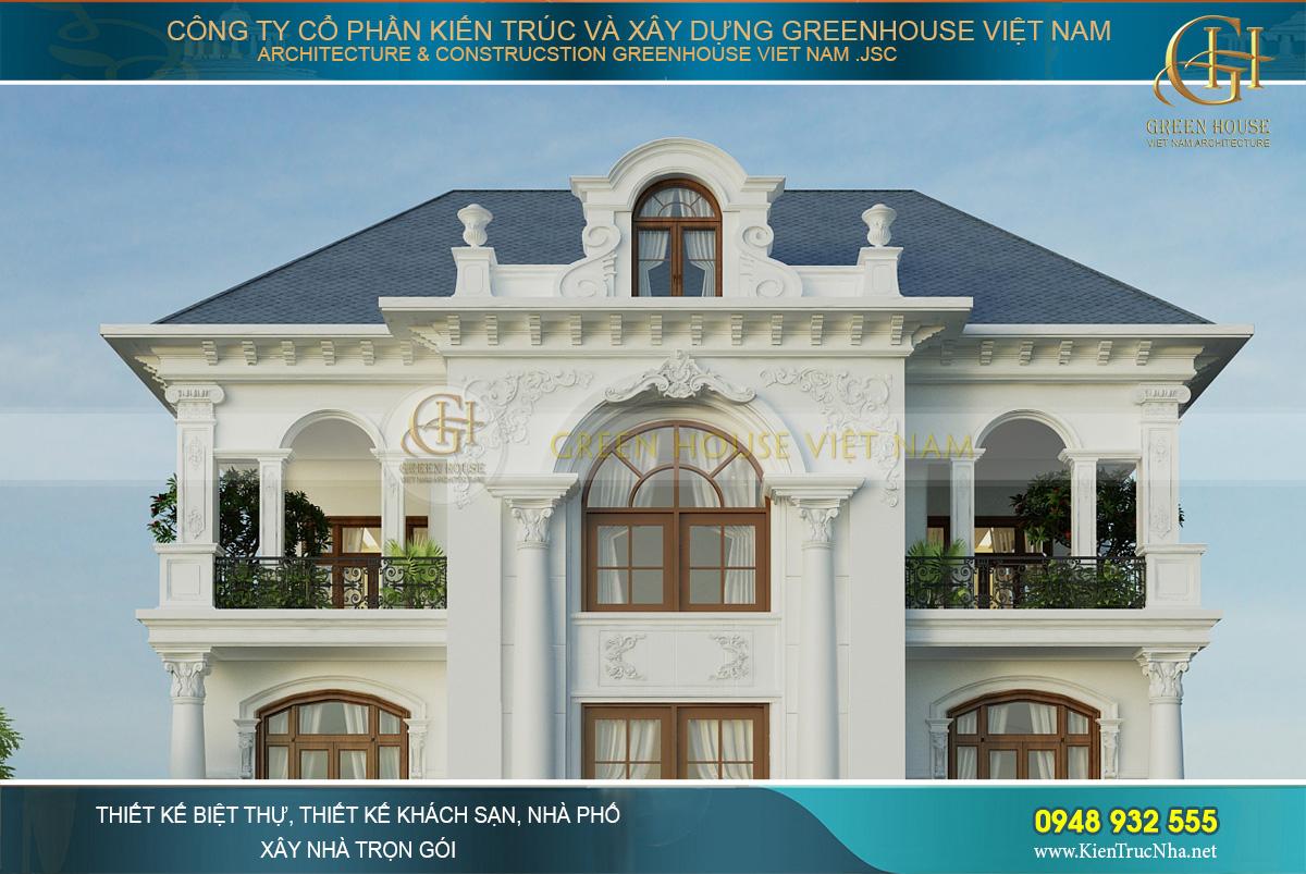 thiết kế biệt thự tân cổ điển sân vườn 4 tầng