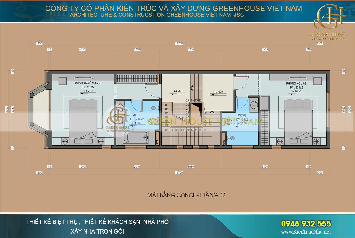 thiết kế nhà phố tân cổ điển 4 tầng
