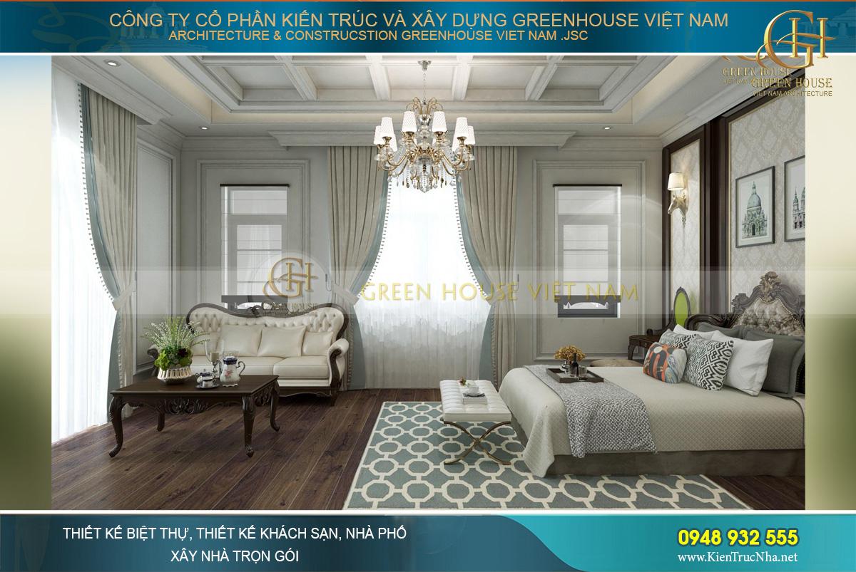 thiết kế nội thất biệt thự tân cổ điển 3 tầng quảng ninh