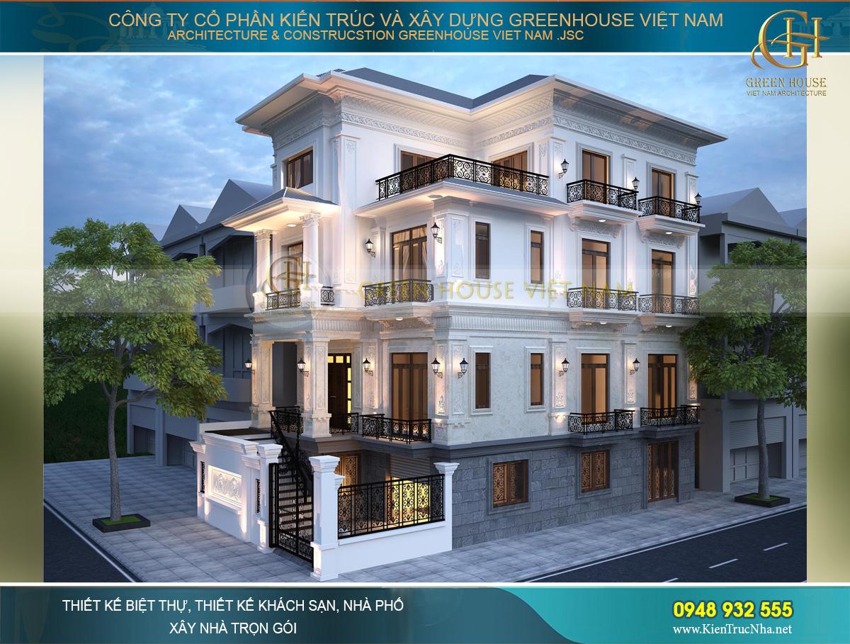 Biệt thự tân cổ điển 1 tầng trệt 3 tầng lầu với vẻ đẹp đẳng cấp khiến bất cứ ai cũng phải thán phục