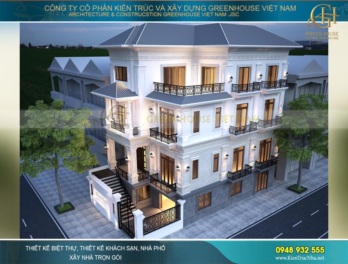 Tầng 2 và tầng 3 được thiết kế với gam màu trắng quen thuộc, nổi bật của kiến trúc cổ điển Pháp