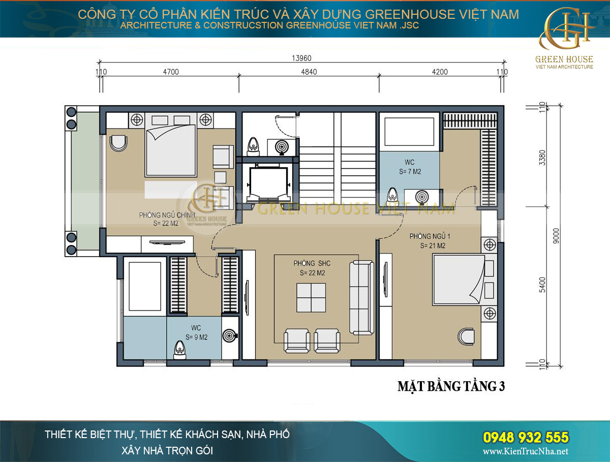 Thiết kế tầng 2 và tầng 3 là khoảng không gian dành cho không gian sinh hoạt chung
