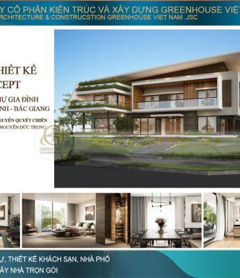 thiết kế biệt thự hiện đại 2 tầng mặt tiền 31m
