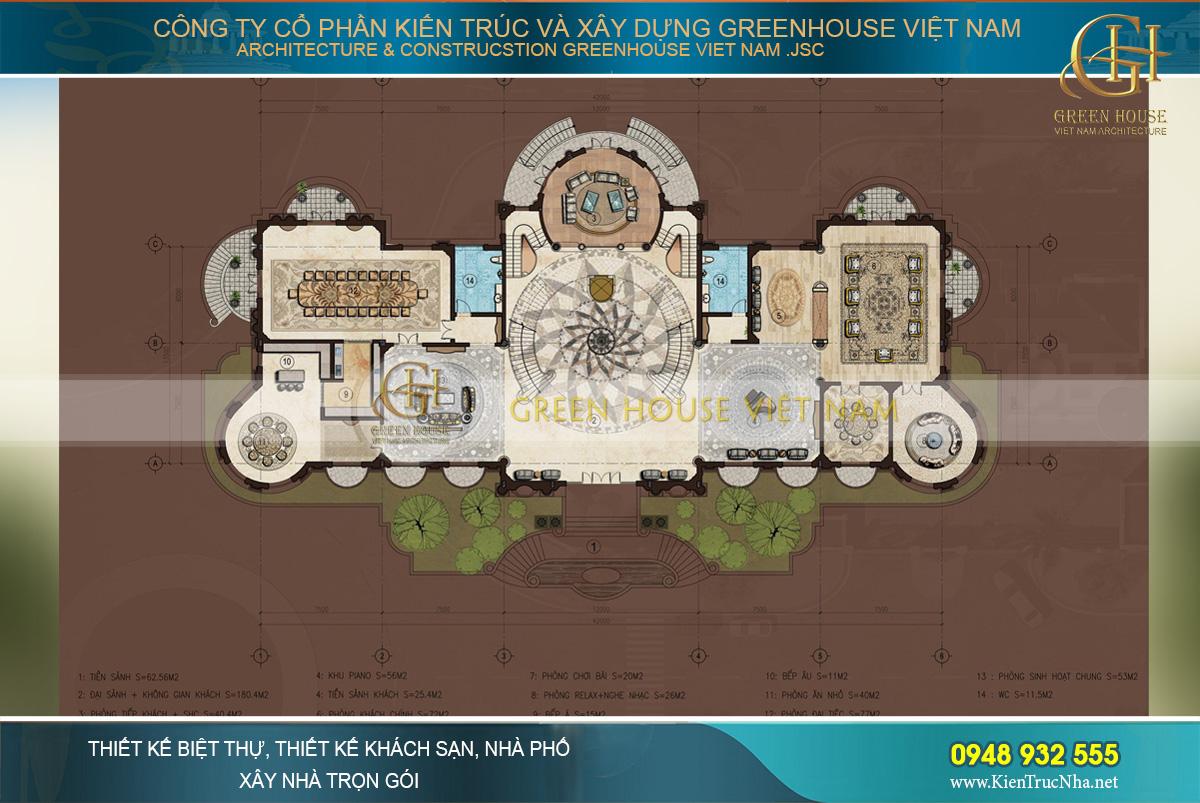 thi công trọn gói dinh thự cổ điển 3 tầng