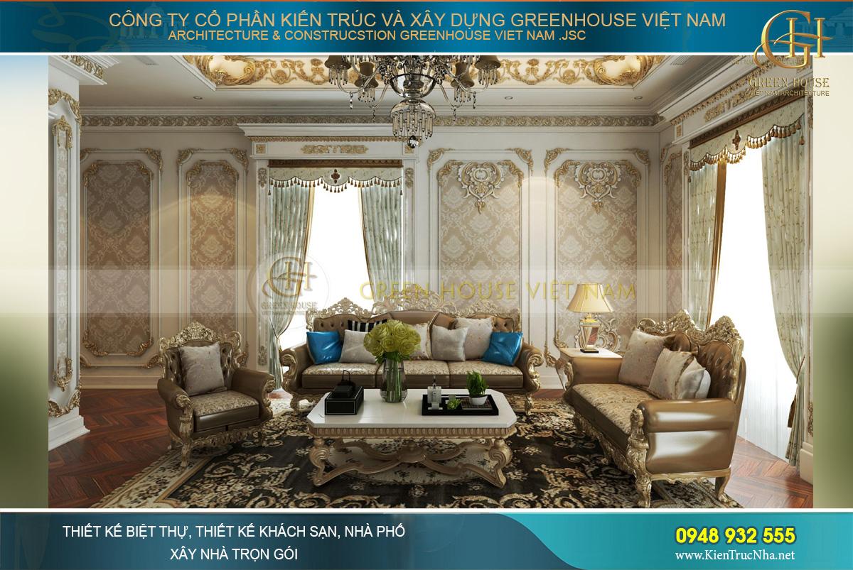 thiết kế nội thất dinh thự 2 tầng bạc liêu