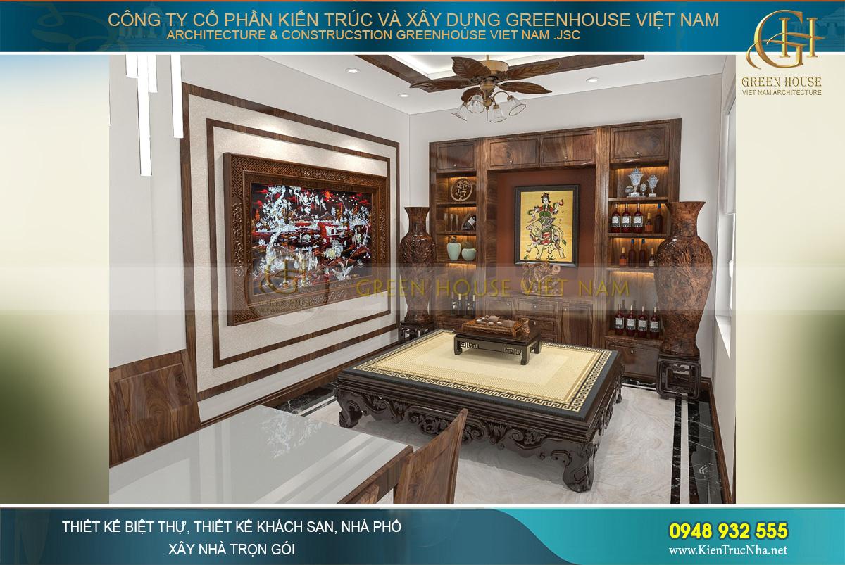 Đối diện với phòng khách chính là không gian phòng bếp kết hợp với phòng ăn của biệt thự Á Đông tại Hà Nội mà gia đình chú Trực sở hữu. Đồng bộ về phong cách thiết kế, màu sắc và chất liệu với phòng khách, thiết kế nội thất phòng bếp cũng sử dụng chất liệu gỗ tự nhiên với các phương pháp chế tác để phù hợp với nhu cầu sử dụng, bảo quản và vệ sinh của nhà bếp.