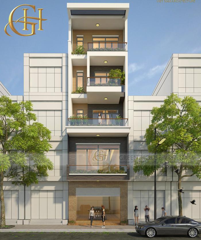Mặt tiền ngôi nhà 5 tầng rộng và thoáng. Nằm trên một con phố đông đúc, căn nhà được thiết kế vừa phù hợp để ở, vừa có thể kết hợp kinh doanh