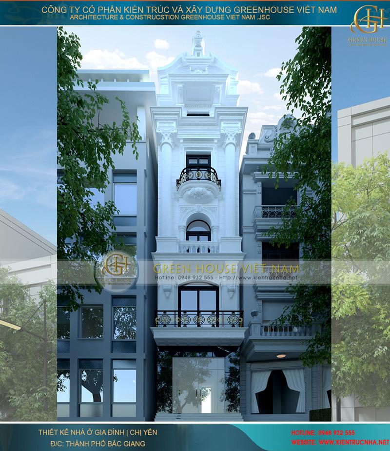 Thiết kế nhà phố 5 tầng tân cổ điển ấn tượng nổi bật một góc trời.