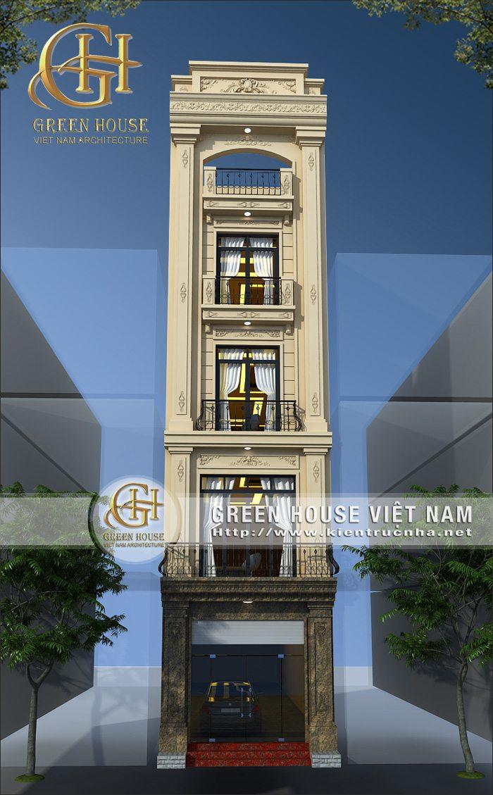 Thiết kế nhà phố tân cổ điển 4 tầng 1 tum giữa lòng Hà Nội.
