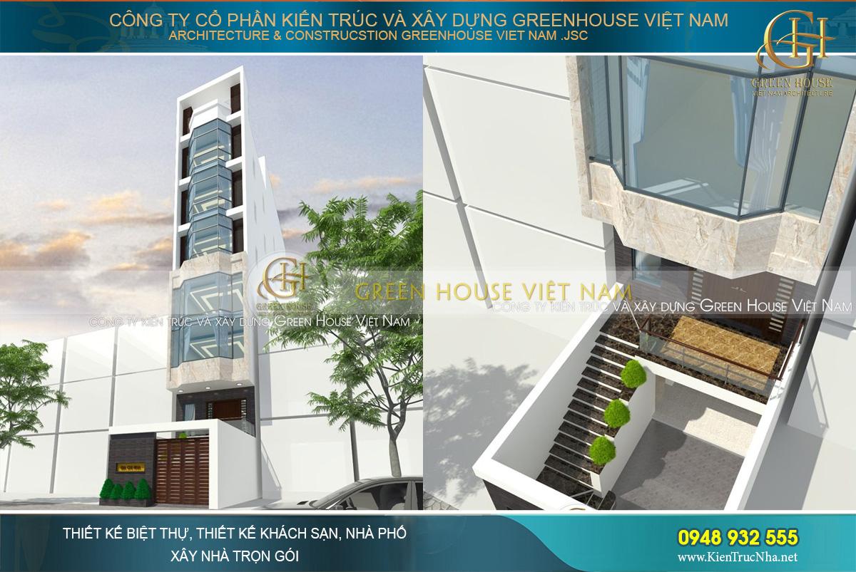 Thiết kế nhà phố 8 tầng kết hợp làm công ty ngay mặt tiền trung tâm thành phố.