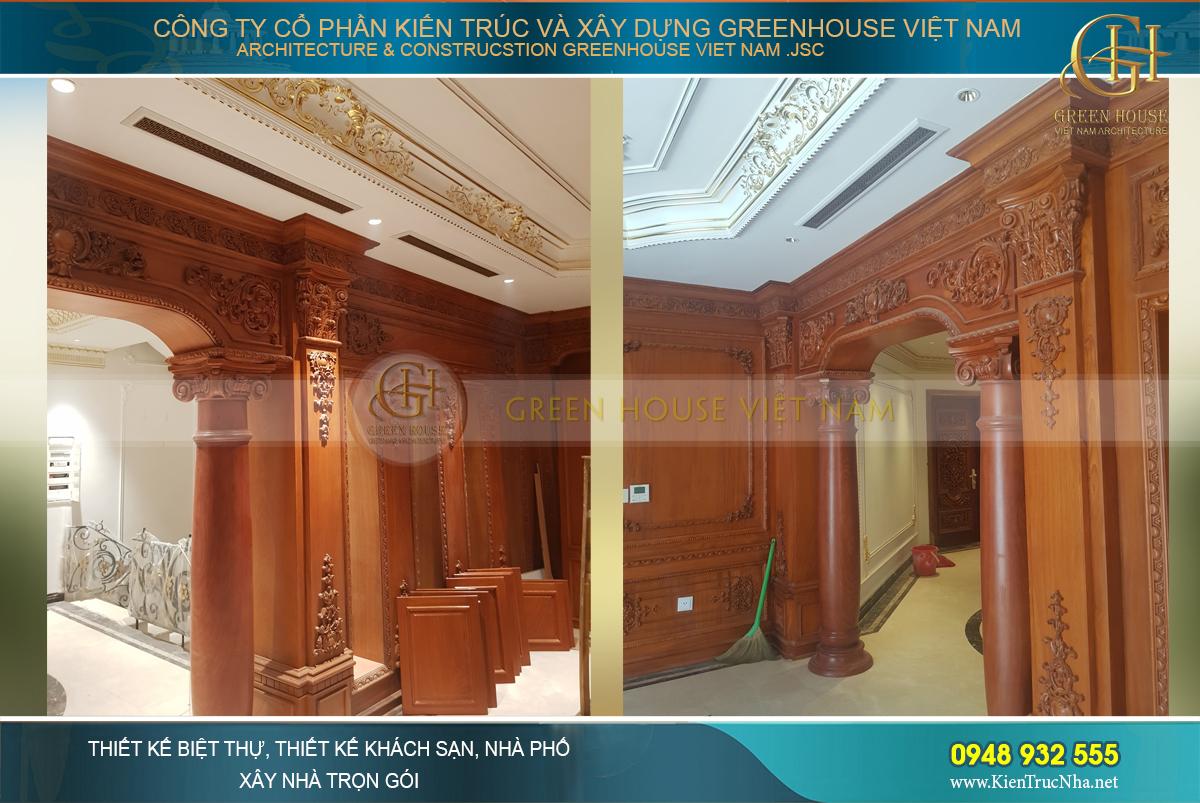 Nội thất gỗ làm căn biệt thự thêm phần sang trọng và nhiều giá trị.