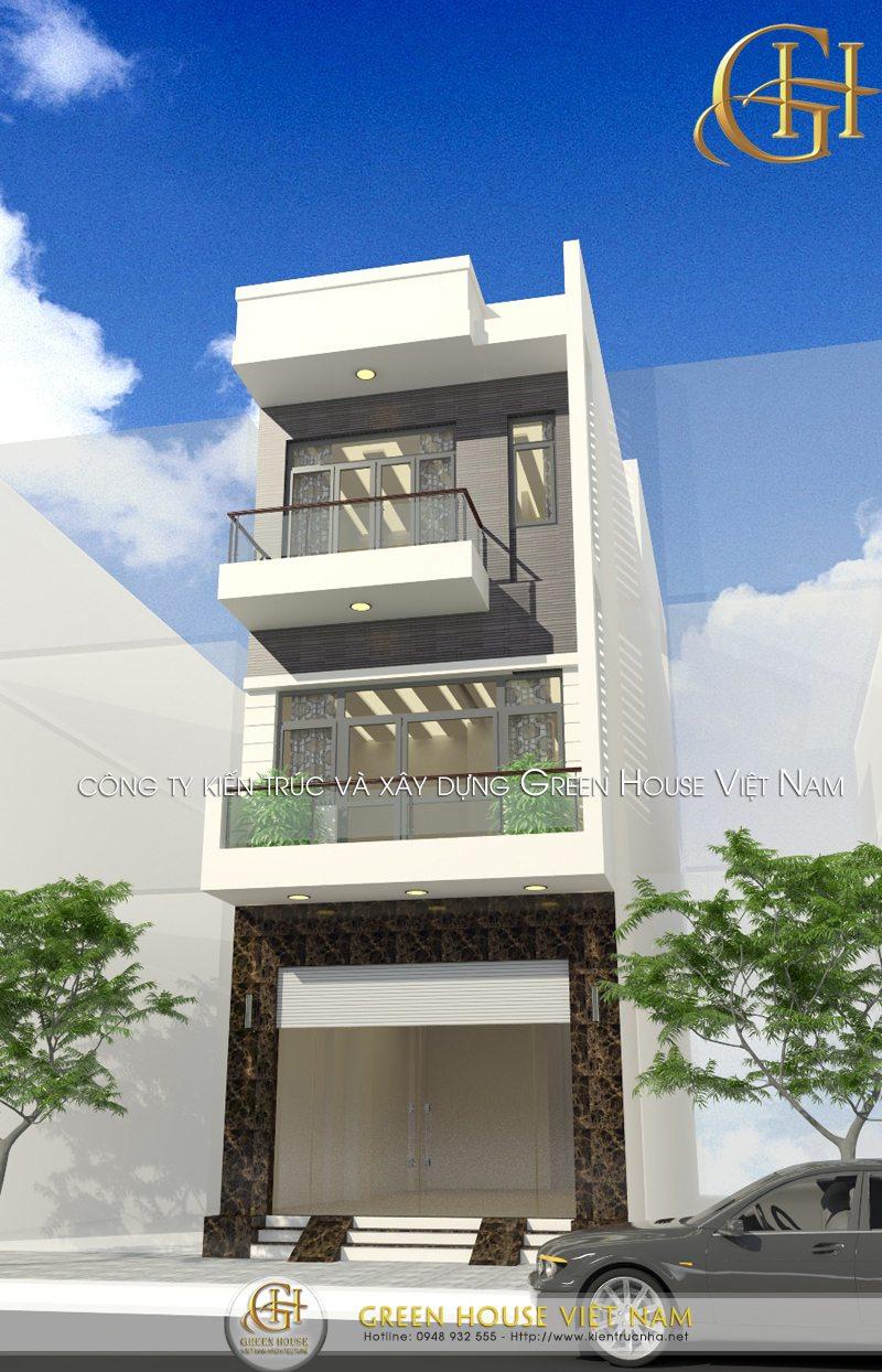 Nhà phố hiện đại với 3 tầng dùng cho sinh hoạt gia đình, một mẫu thiết kế đặc trưng của các vùng đô thị hiện nay.