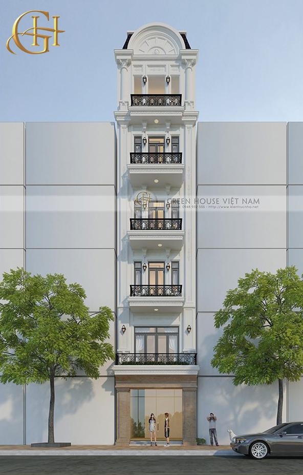 Nhìn toàn cảnh mặt đứng của công trình 6 tầng, từng đường nét cổ điển mềm mại chắc chắn khiến bất cứ ai cũng đều khó rời mắt