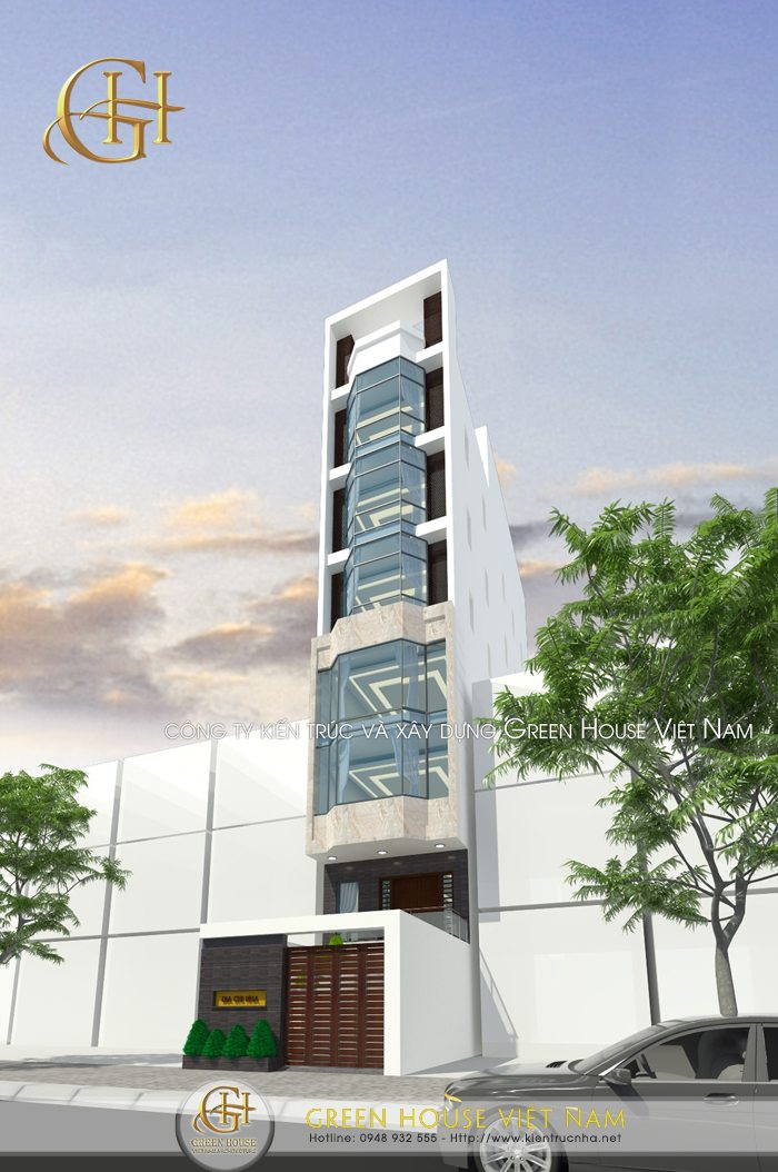 Thiết kế nhà phố 8 tầng hiệu quả với mô hình văn phòng, công ty.