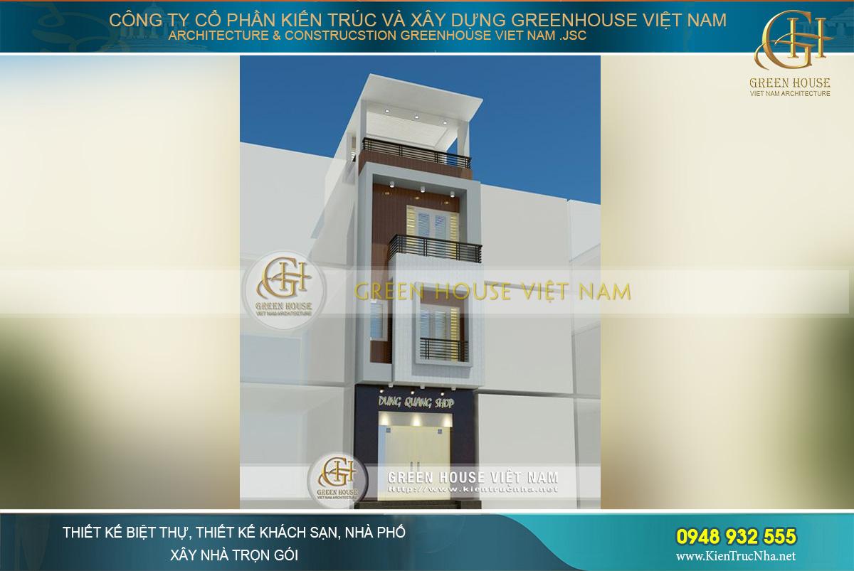 Thiết kế nhà phố 4 tầng hiện dại kết hợp kinh doanh shop quần áo.