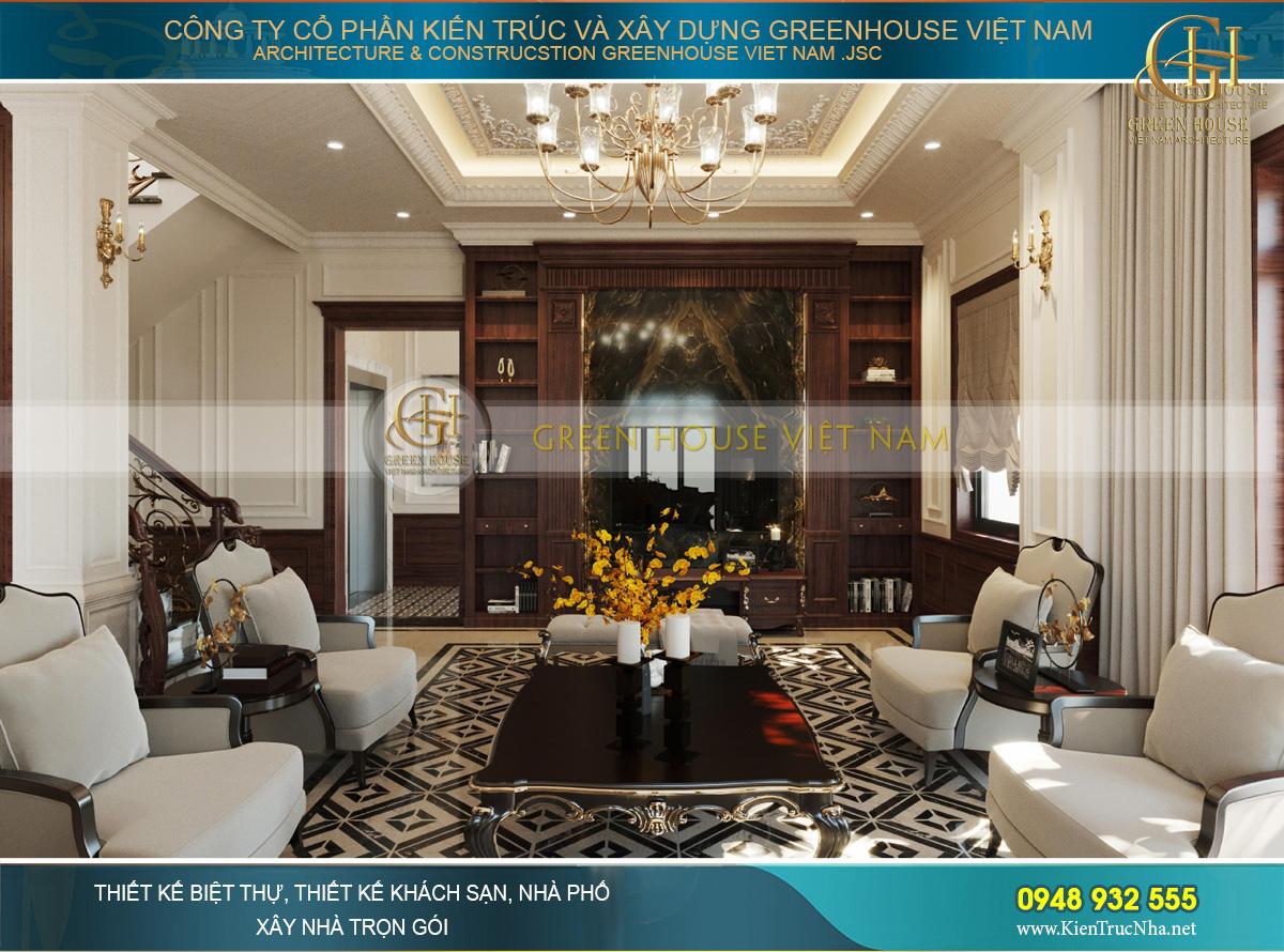 Bộ sofa cổ điển cao cấp bọc nệm với 4 ghế đơn, 1 ghế dài và ghế nghỉ bố trí đối xứng, cân bằng