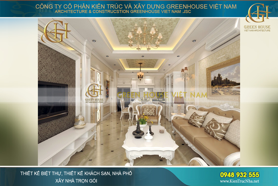 Phòng khách nơi thể hiện không gian sang trọng, hiện đại cho toàn ngôi nhà