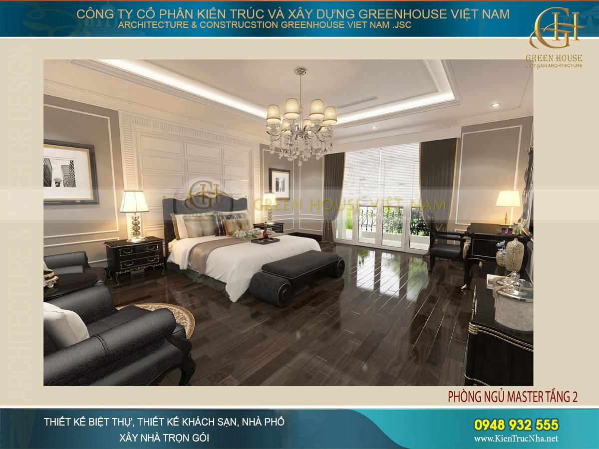 Toàn cảnh không gian lớn của phòng ngủ master với vẻ đẹp vô cùng sang trọng, tựa như phòng ngủ của khách sạn 5 sao