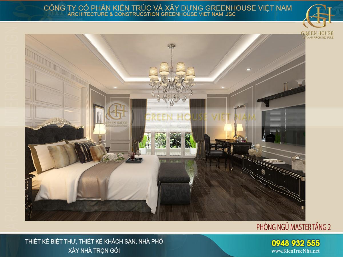 Bộ đèn chùm pha lê tinh xảo, mang ánh sáng vàng nhẹ dịu và ấm áp cho không gian phòng ngủ