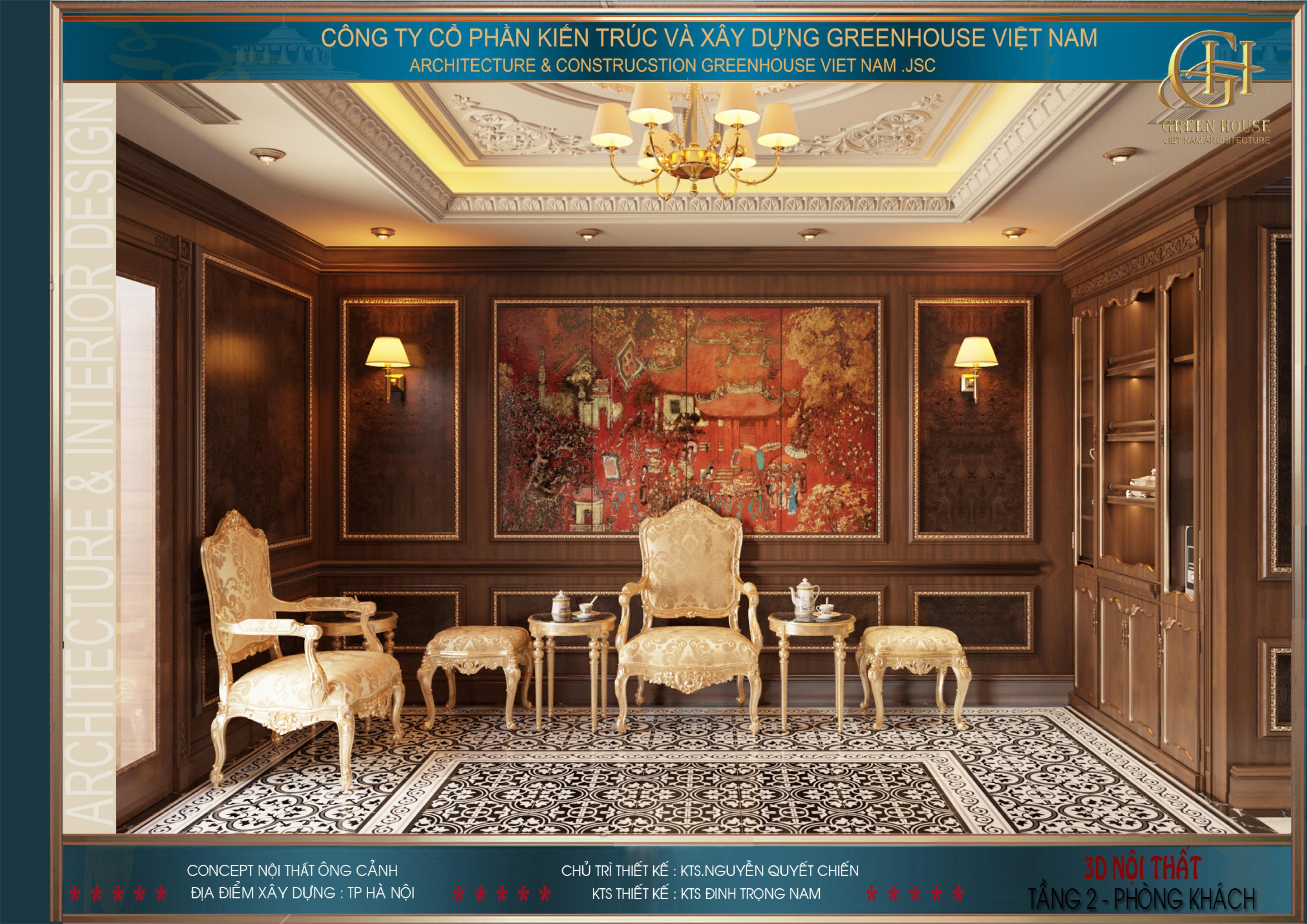 Thiết kế nội thất phòng khách khá đơn giản, nhẹ nhàng