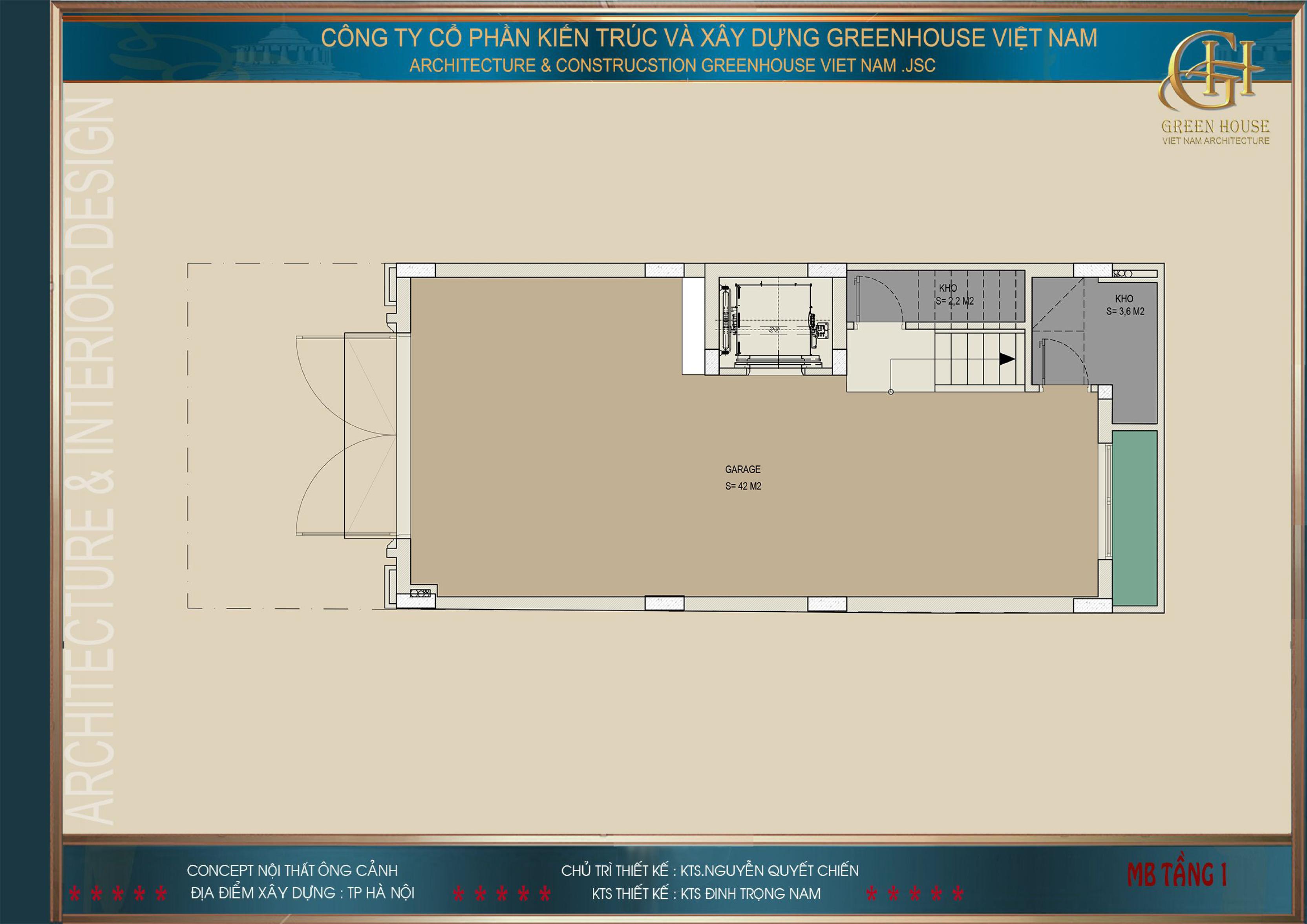 Bản vẽ công năng tầng 1 của biệt thự tân cổ điển 7 tầng