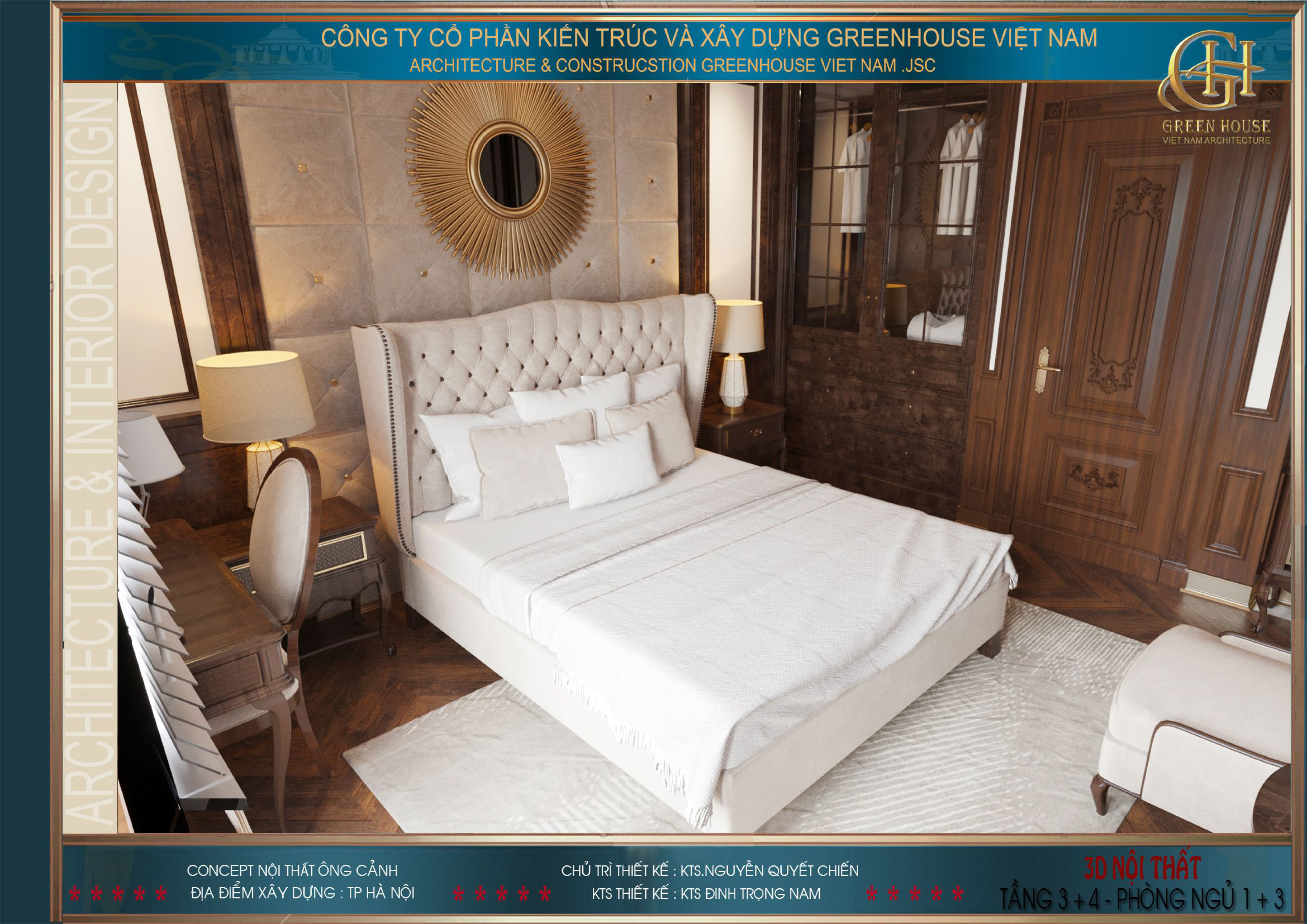 Phòng ngủ tầng 3 với đầy đủ đồ nội thất phục vụ nhu cầu sinh hoạt của chủ nhân căn phòng
