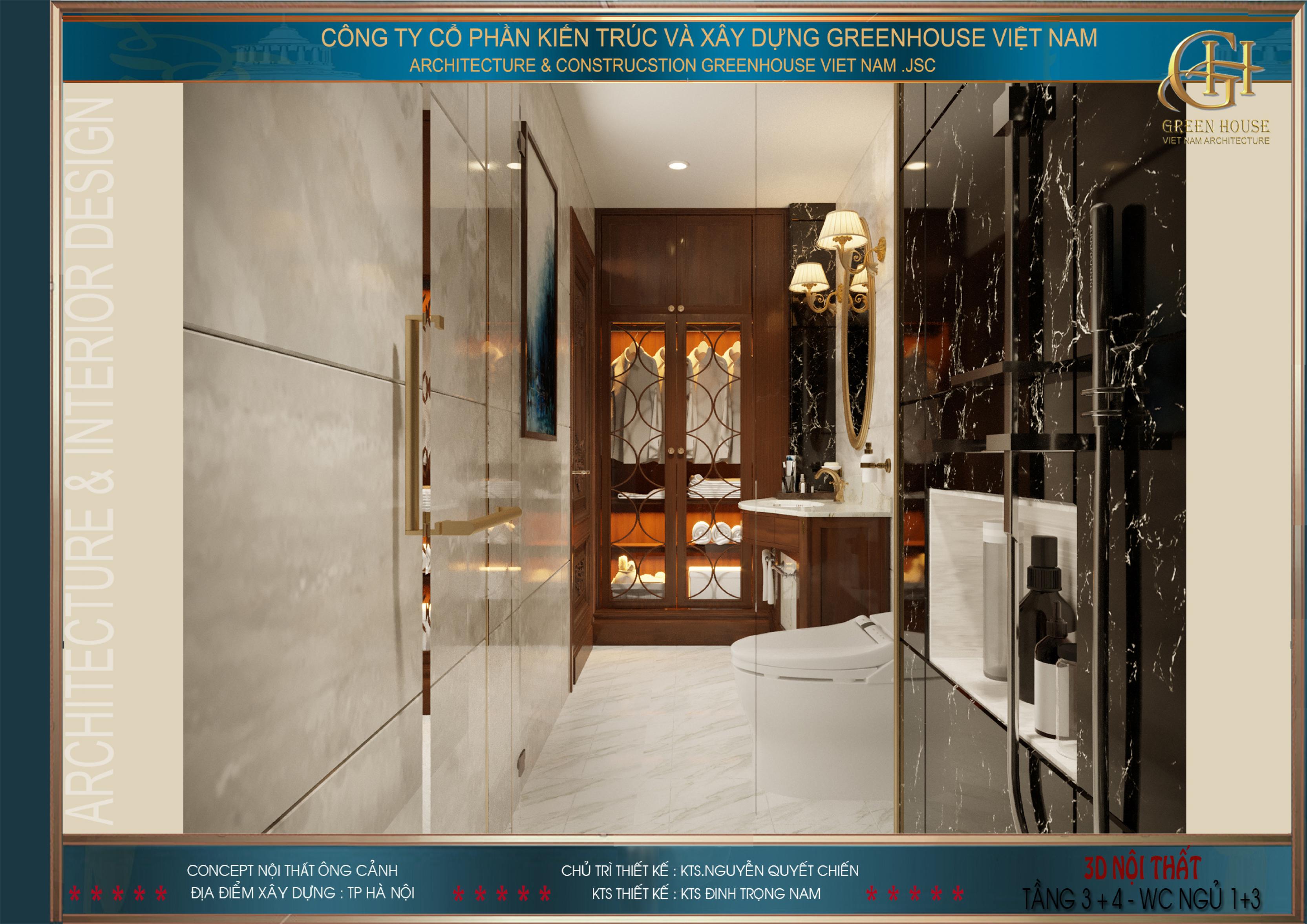 Phòng tắm của phòng ngủ tầng 3 sang trọng với tấm gạch lát màu đen