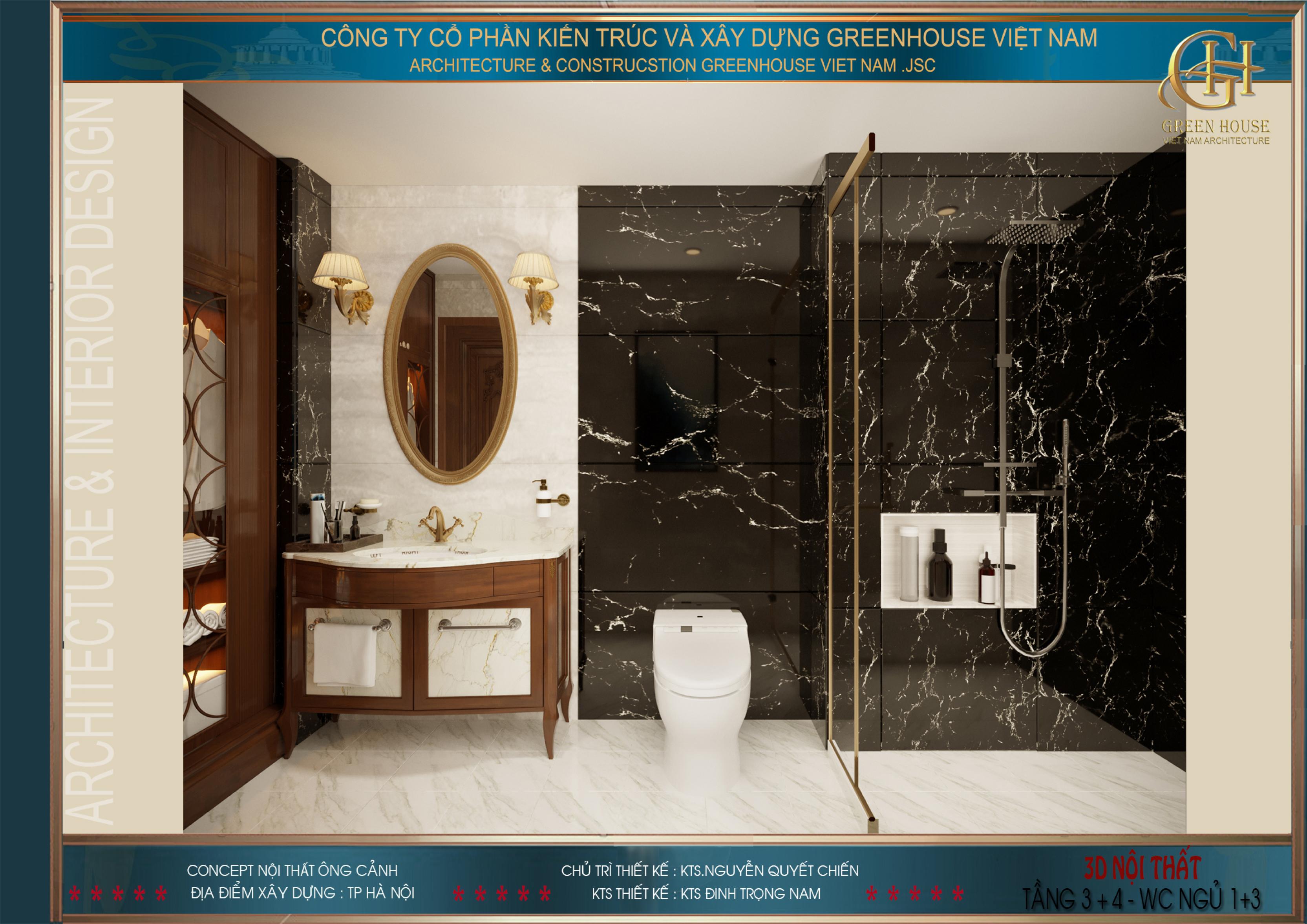 Phòng tắm của phòng ngủ tầng 3 với vách tắm kính hiện đại