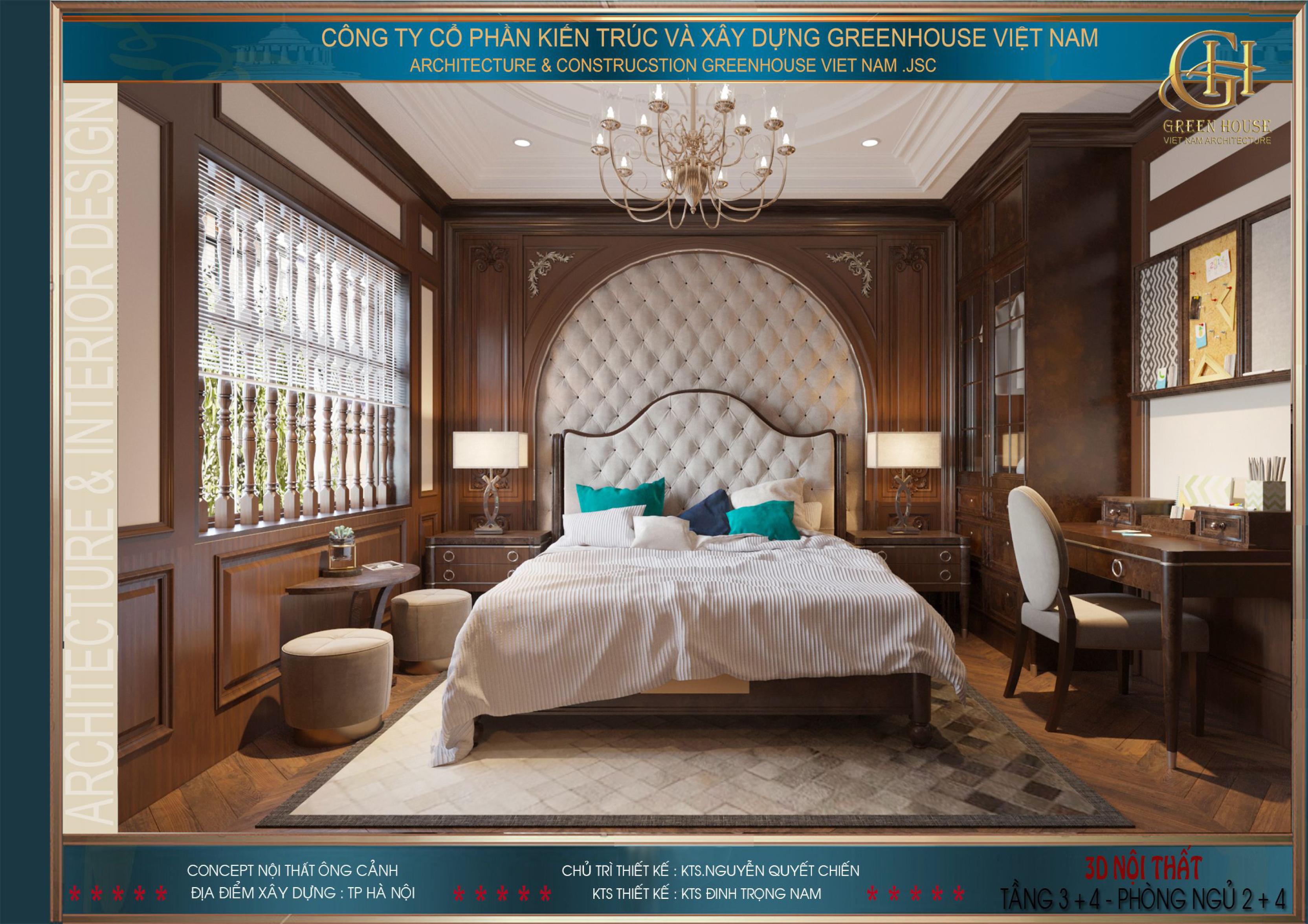 Phòng ngủ tầng 4 được thiết kế với giường ngủ đặt chính giữa