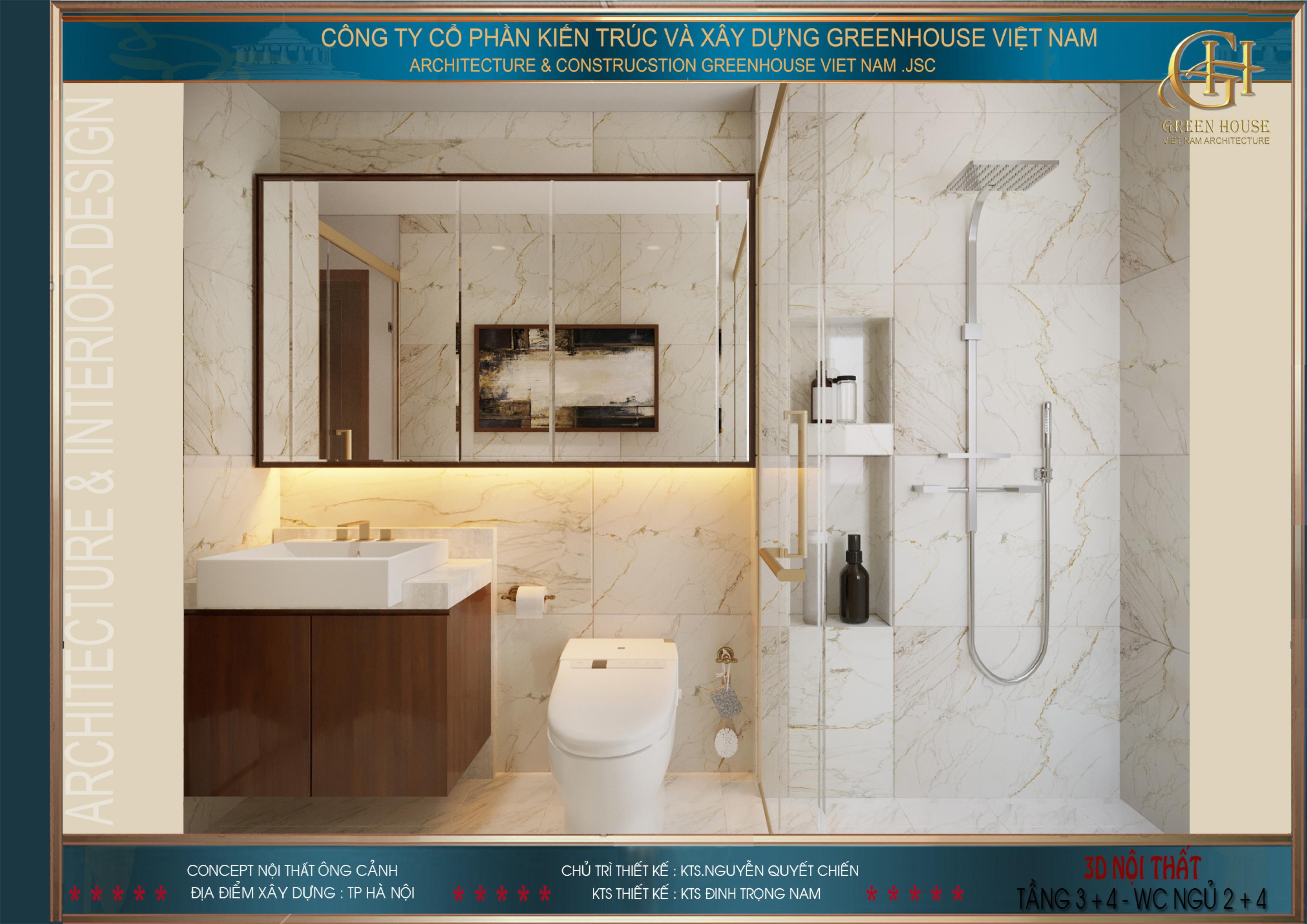Phòng tắm tầng 4 được thiết kế hiện đại