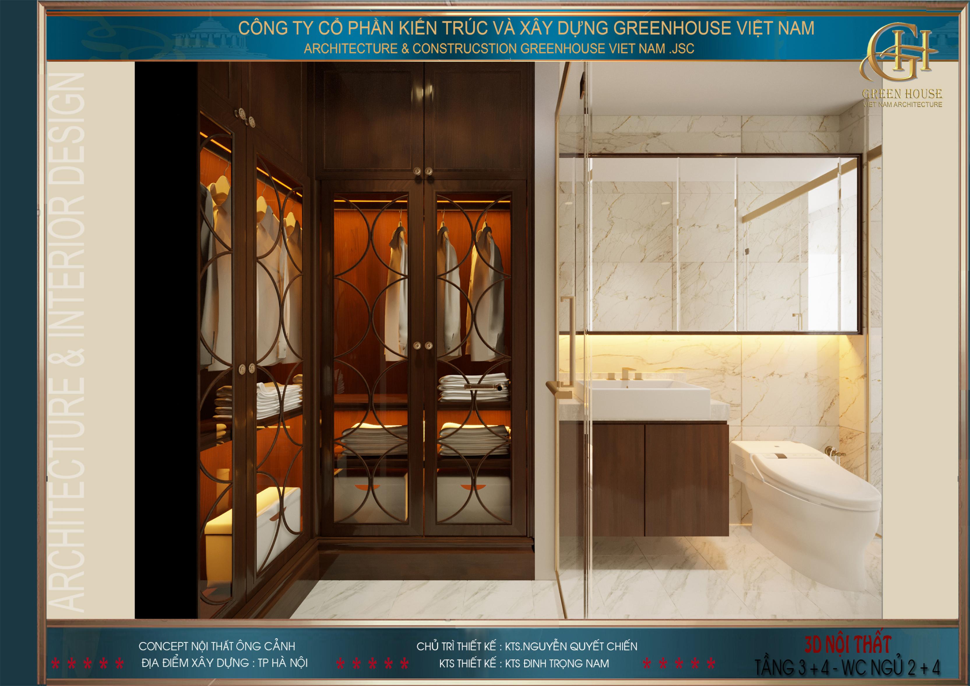 Tủ để đồ ngăn cách với phòng tắm bởi tấm kính hiện đại
