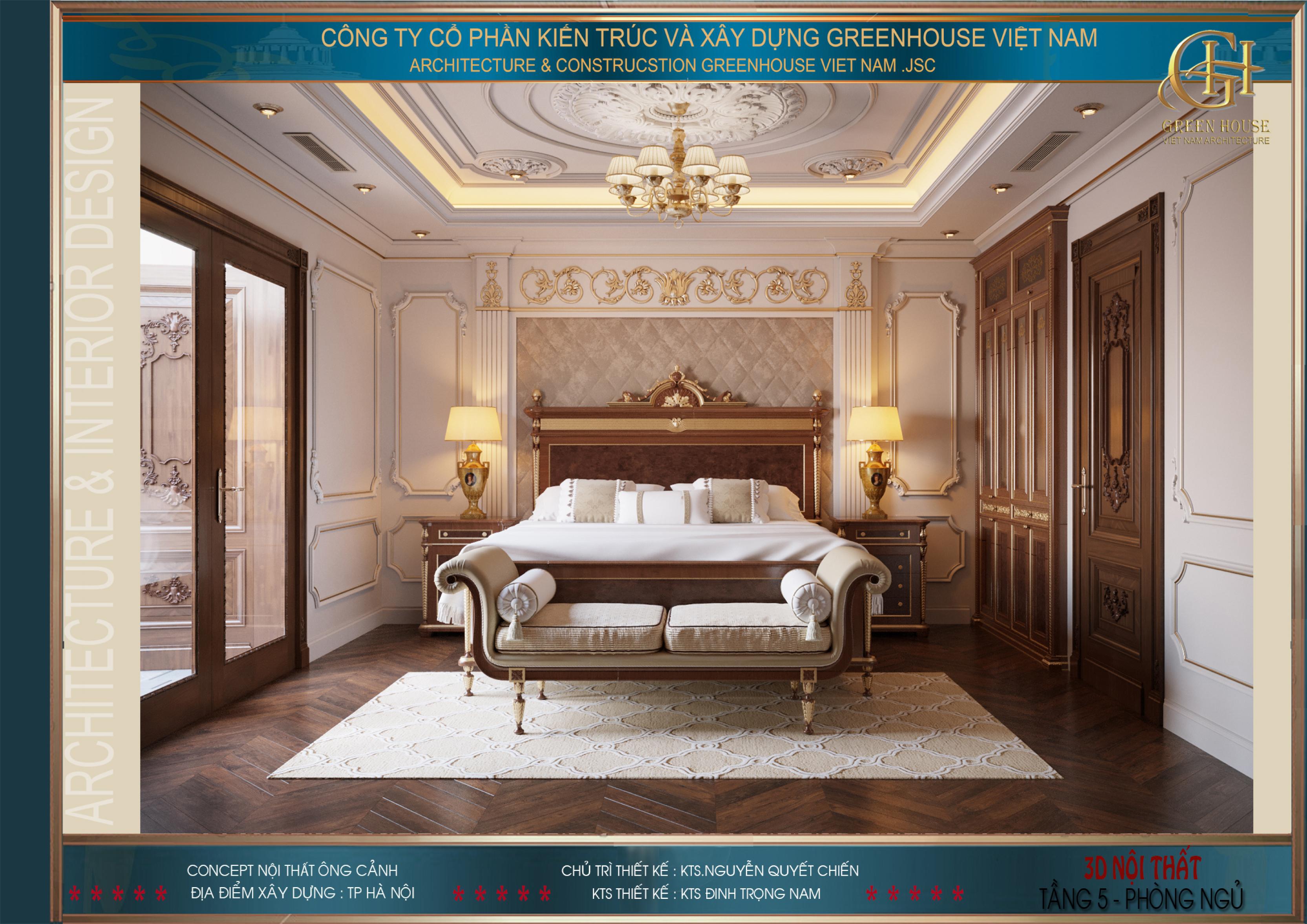 Phòng ngủ master của biệt thự tân cổ điển 7 tầng tại Hà Nội