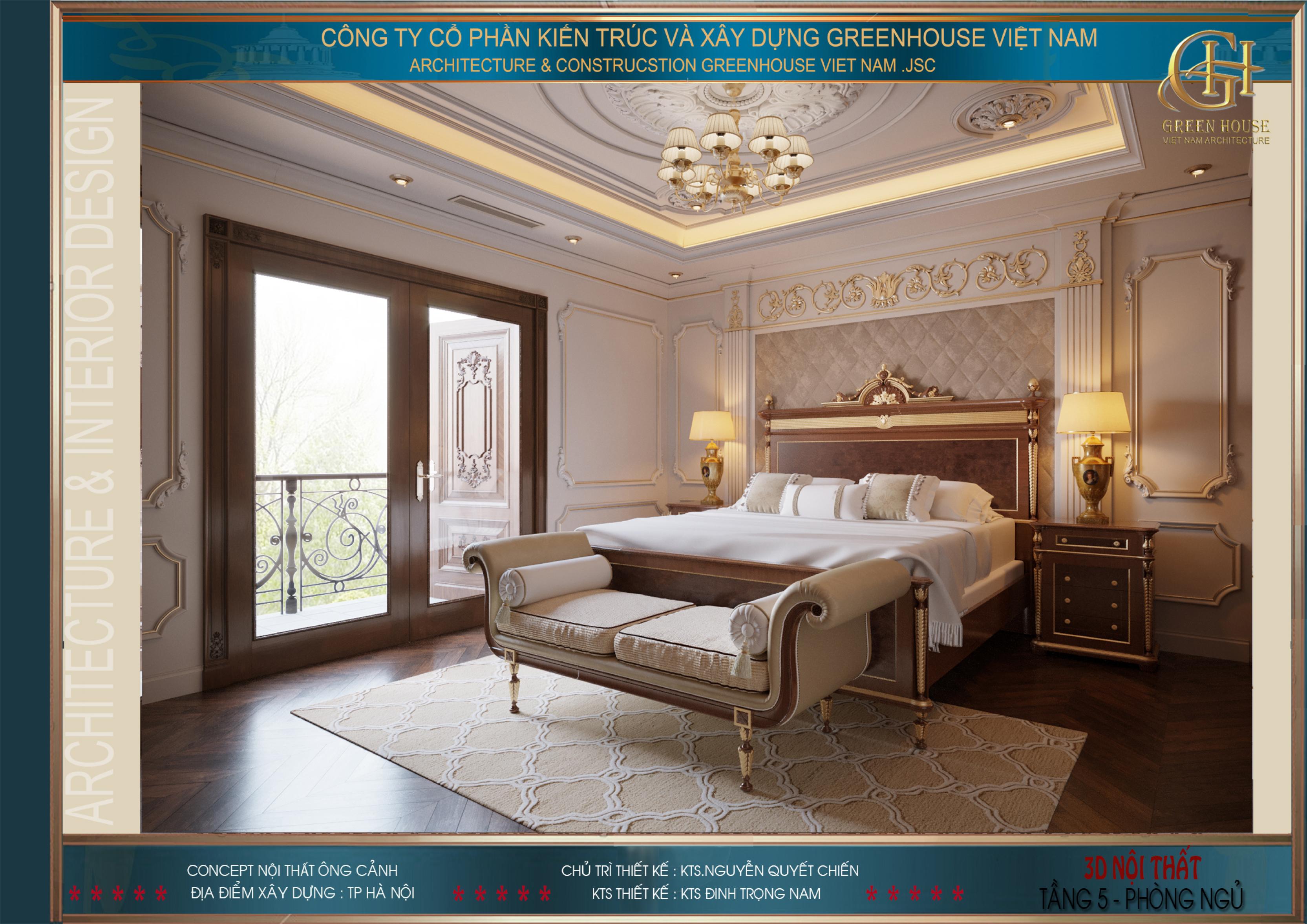 Phòng ngủ master của biệt thự tân cổ điển có hệ thống cửa lớn ra ban công
