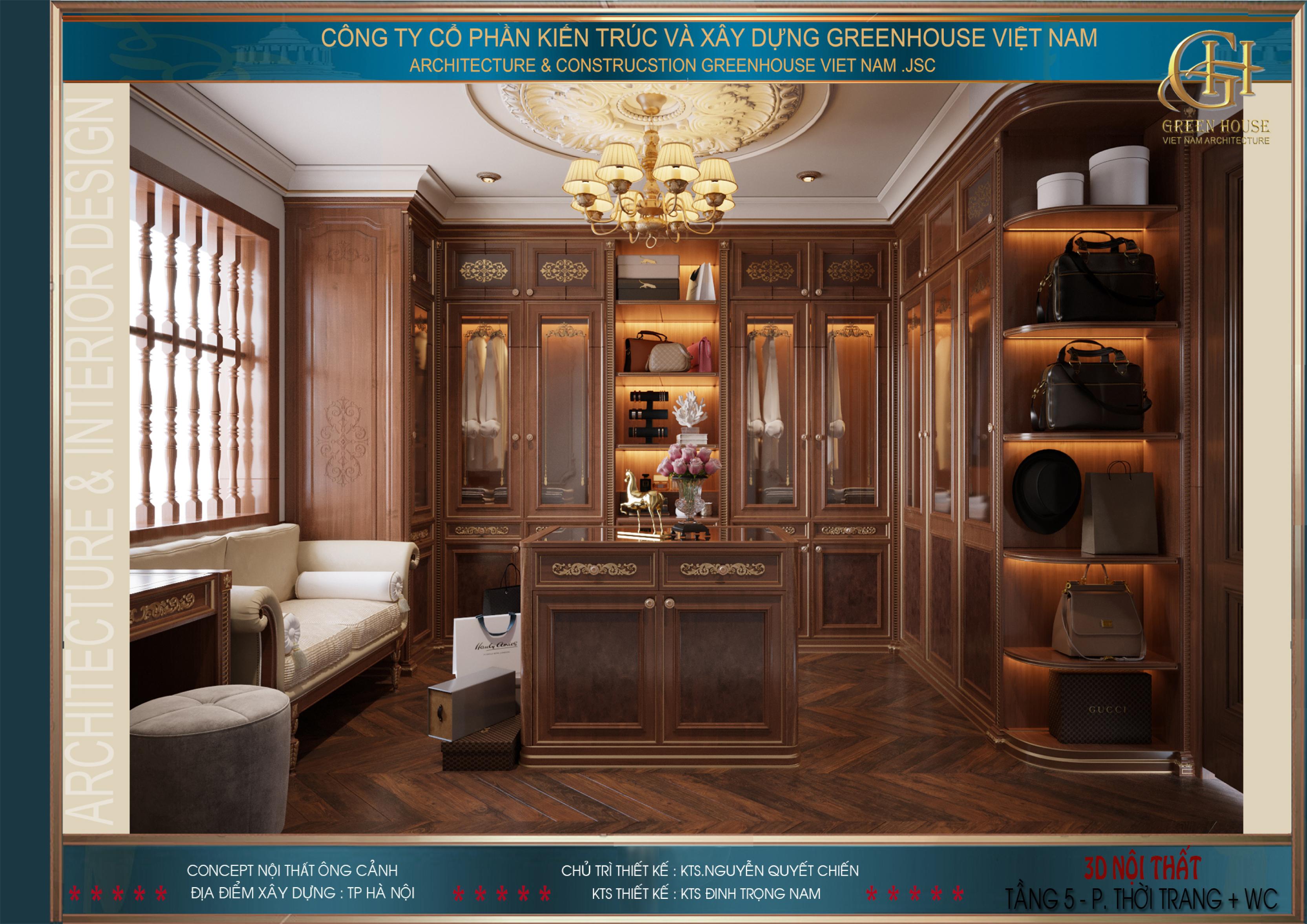 Phòng thời trang được thiết kế toàn gỗ hết sức xa hoa