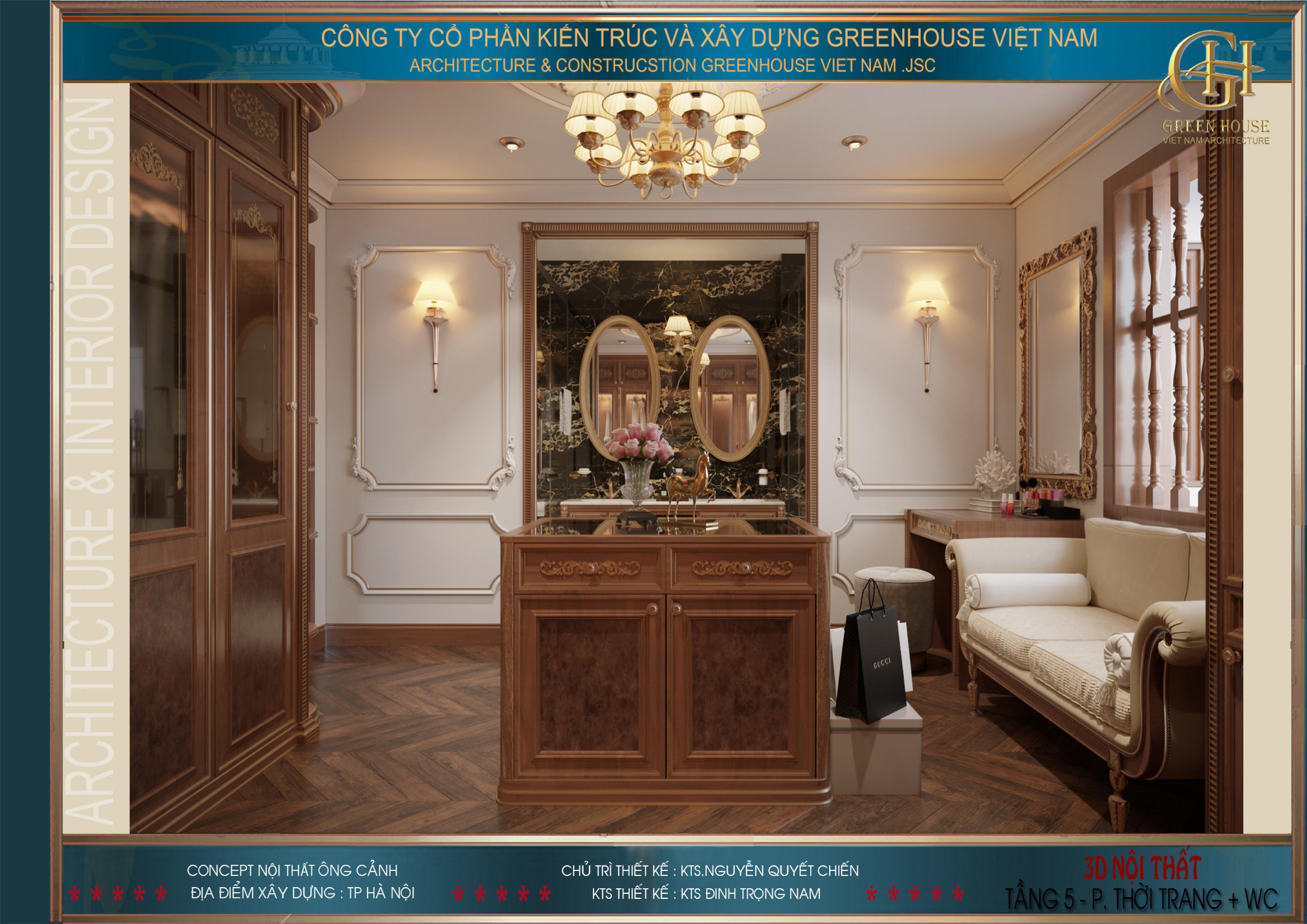 Không gian phòng thời trang của phòng ngủ master