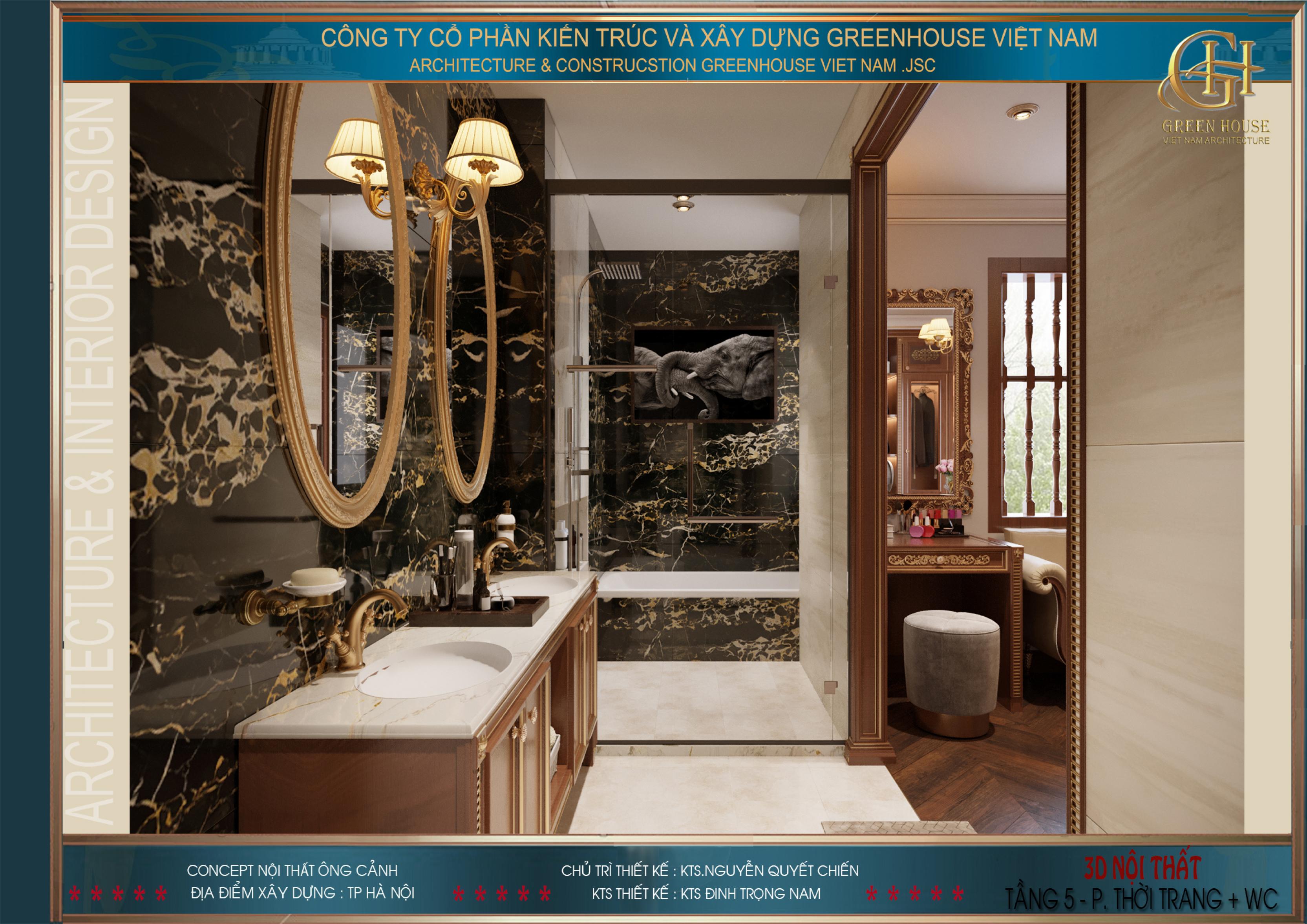 Phòng tắm của phòng ngủ master được thiết kế hiện đại, sang trọng