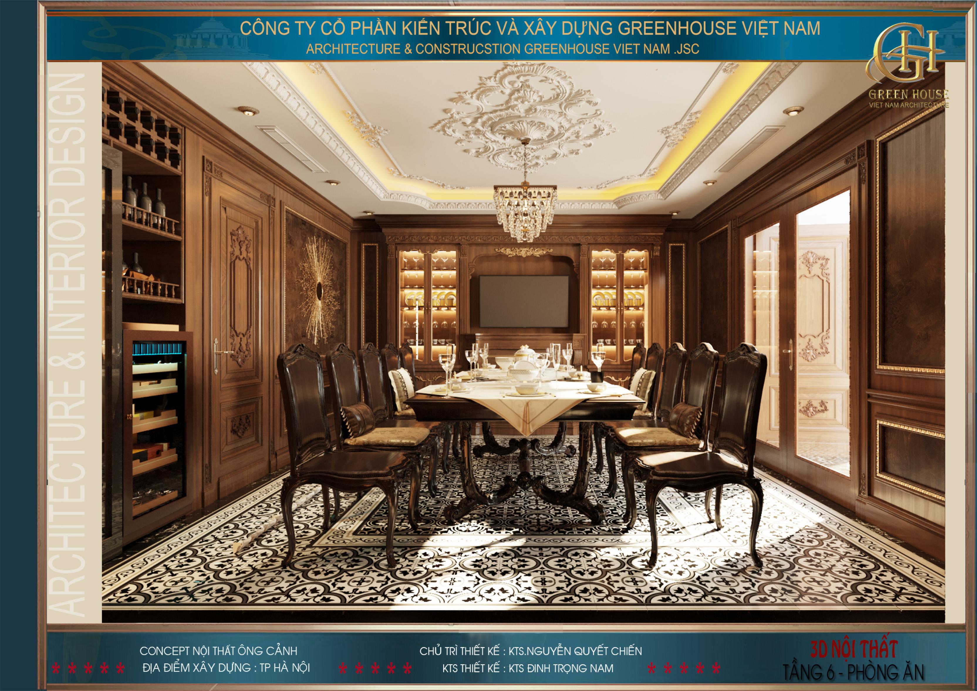 Hệ thống bàn ăn 12 ghế được làm từ gỗ tự nhiên