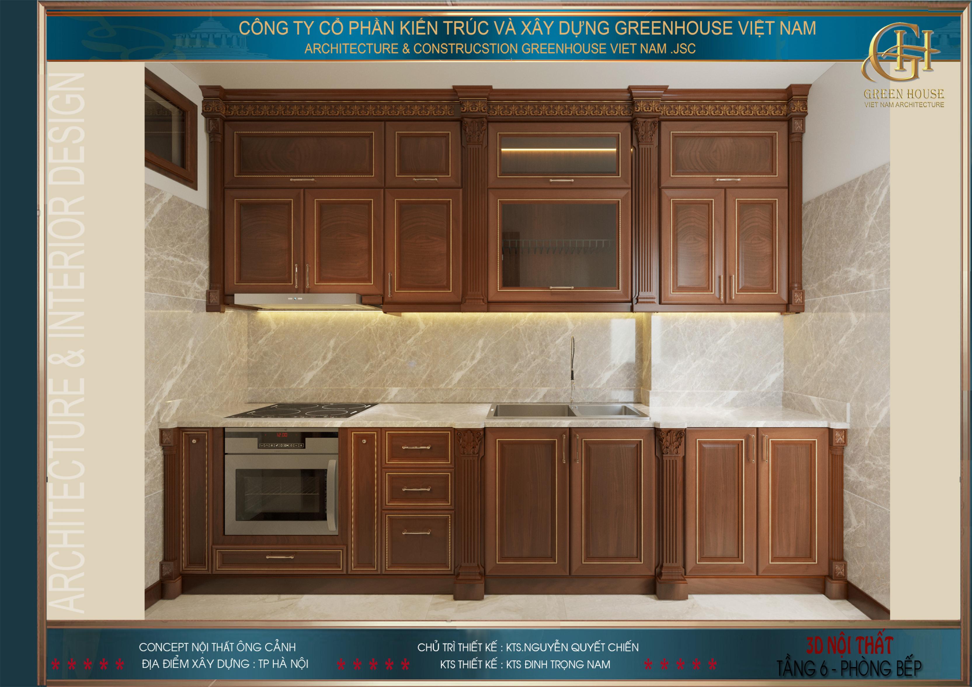 Không gian phòng bếp được thiết kế đơn giản hơn