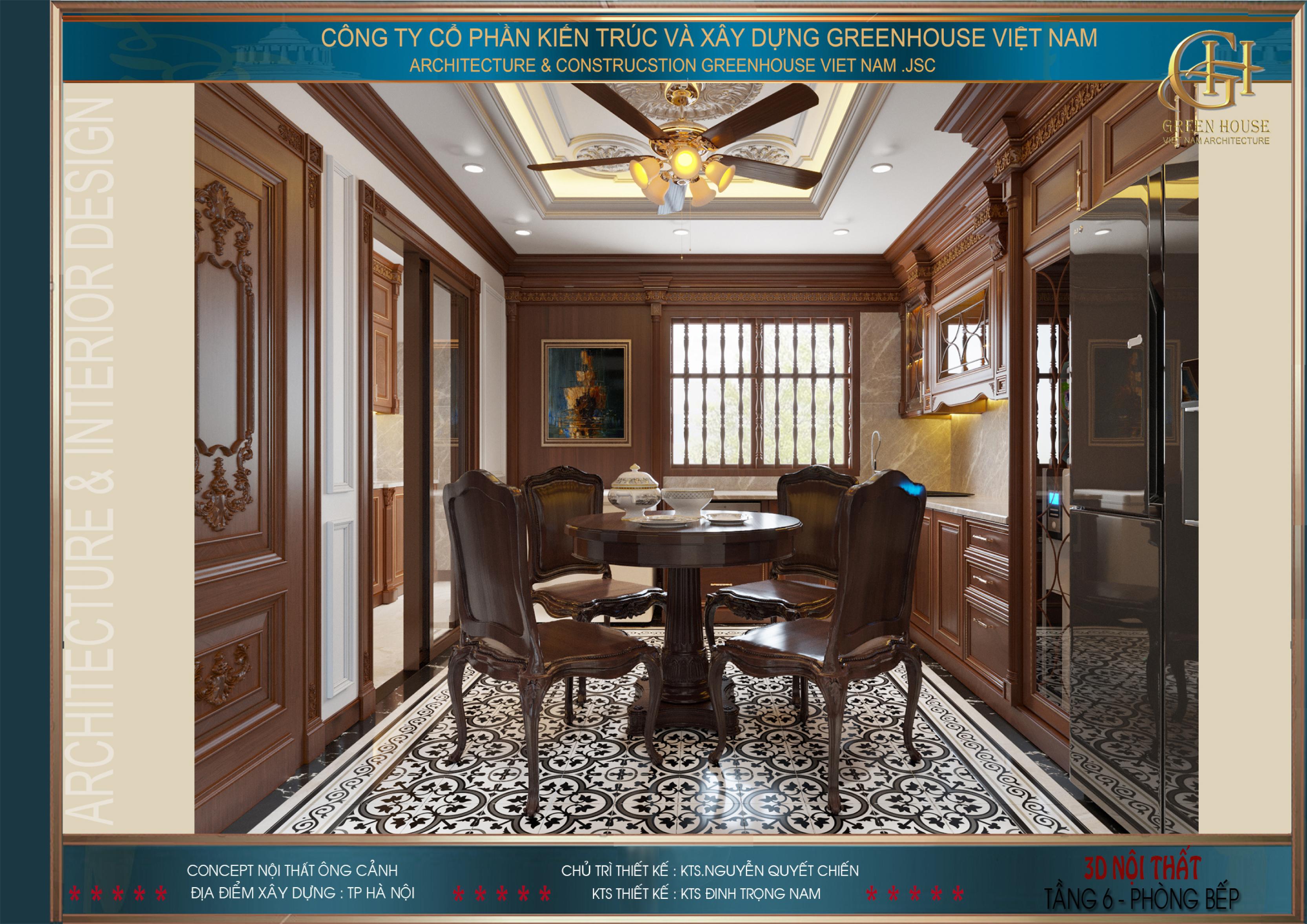 Thiết kế phòng bếp với chất liệu gỗ nâu ấm áp
