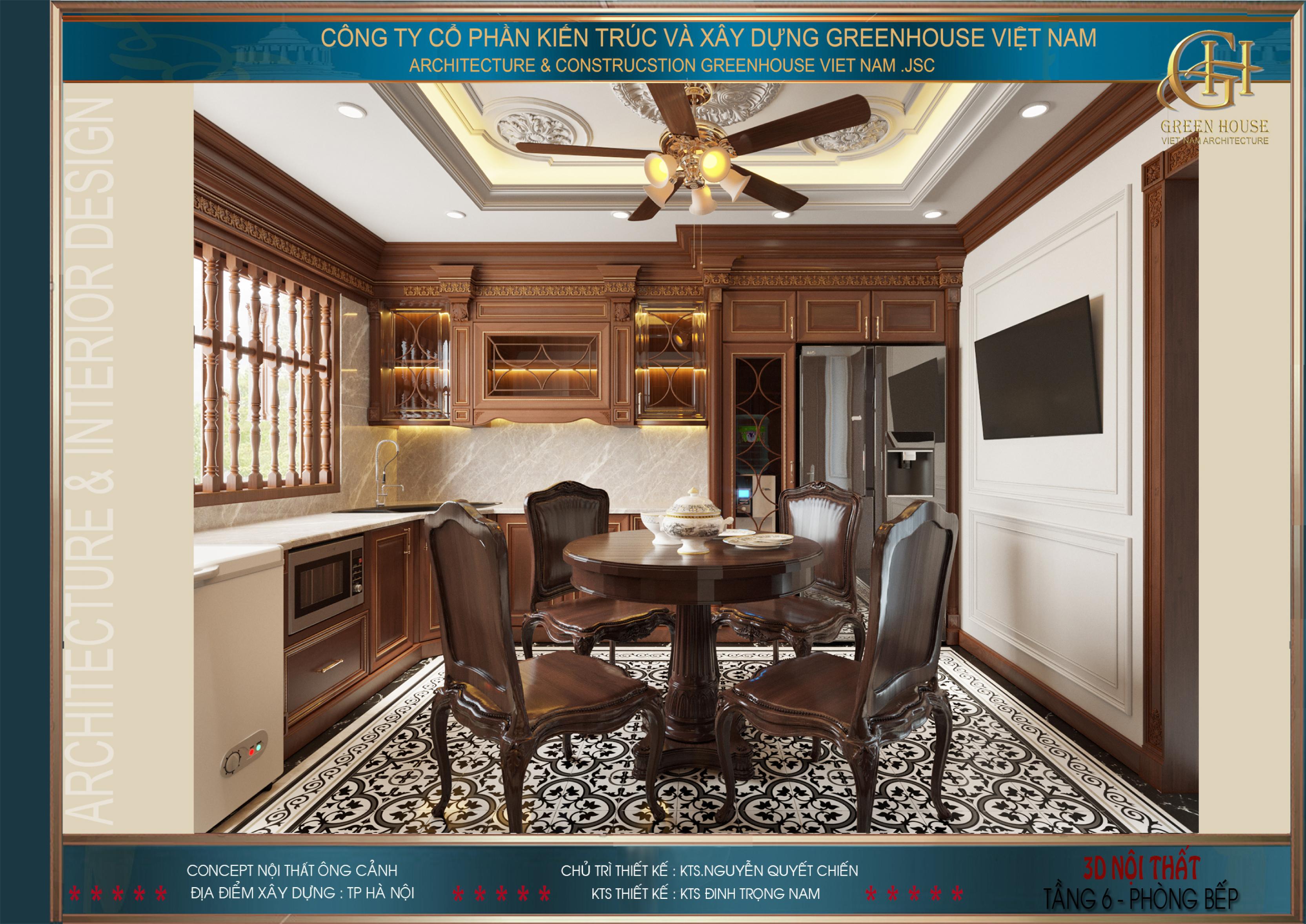 Nội thất phòng bếp được bố trí gọn gàng, vừa khít và tối ưu công năng sử dụng