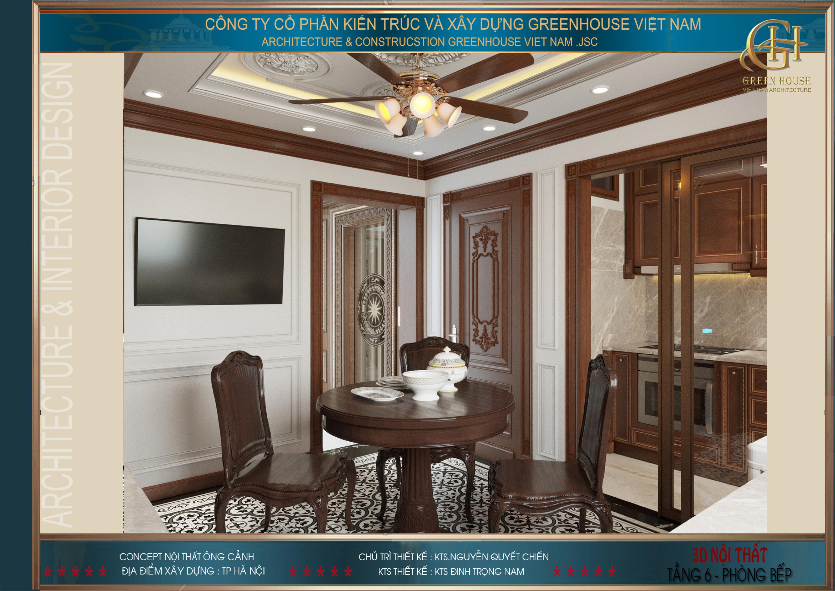 Không gian phòng bếp không lớn nhưng vẫn đầy đủ nội thất