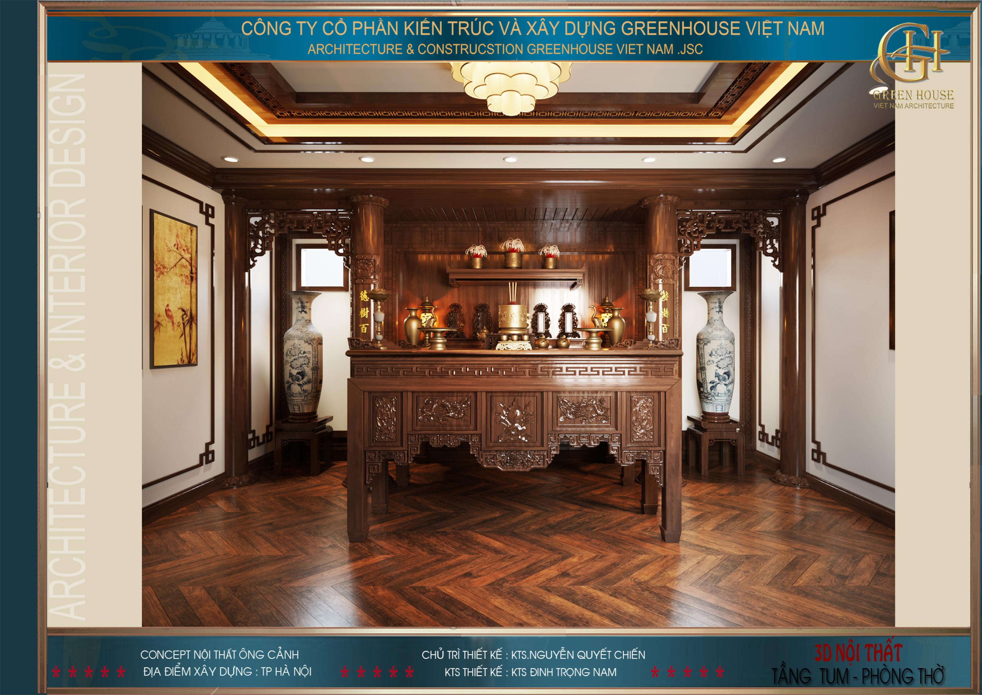 Các đồ nội thất trong phòng thờ đều mang màu sắc tâm linh trang nghiêm và sang trọng